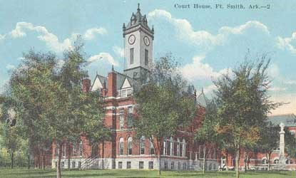 Sebastian County Courthouse in Fort Smith with tall tower over brick structure