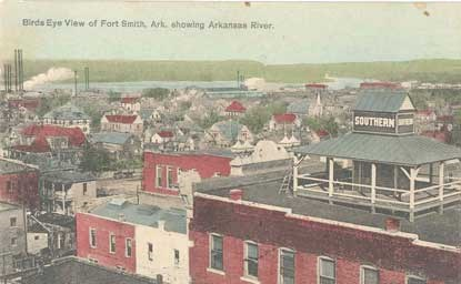 aerial view of Fort Smith showing Arkansas River in distance