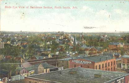 aerial view of residential Fort Smith from early 20th century postcard