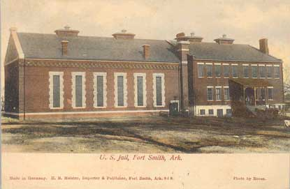 postcard showing jail wing on left and former courthouse building on right