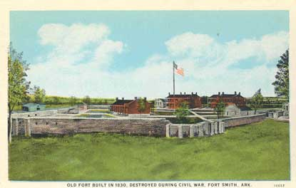 postcard of second fort walls and buildings with flag flying in center