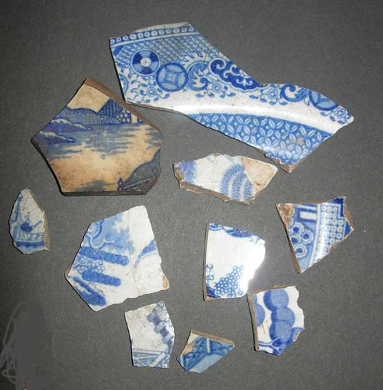 Fragments of Blue Willow transferware found at Fort Smith.