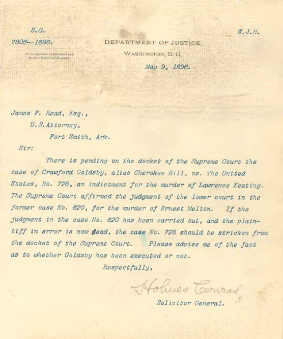 Typed letter on Department of Justice letterhead dated May 9, 1896, with handwritten signature, Holmes Conrad, Solicitor General.