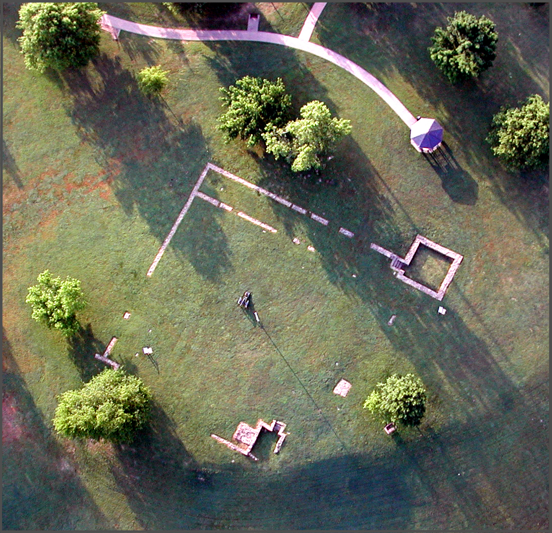 Aerial view of the remains of the First Fort Smith at Belle Point