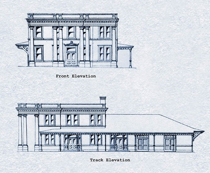 Blue and white drawings of the front and side of the Frisco Train Station