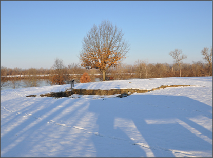 The foundation of the First Fort Smith visible in a fresh layer of rare snow.