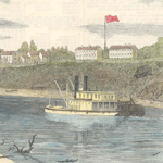 Steamboat on Arkansas River with fort in background