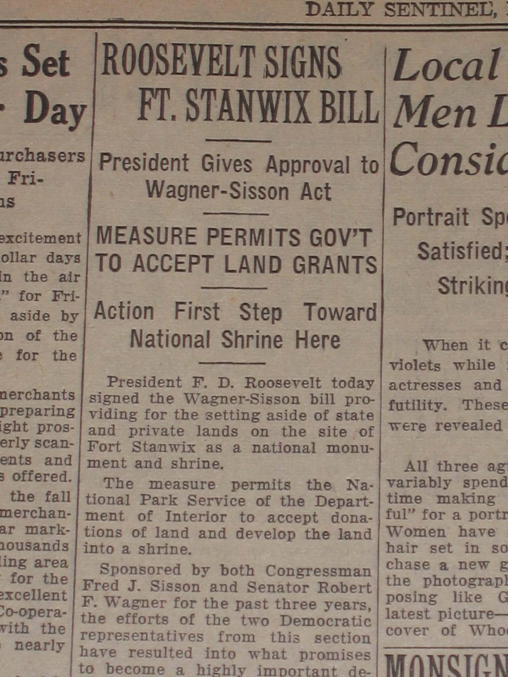 the 1935 Rome Sentinel in faded yellow, Headline: Roosevelt signs law to accept land grants, new National Park Shrine