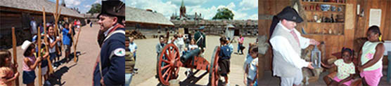 It is learning and fun time, 3 scenes of children interacting with a soldier or a ranger around red cannons, wooden rooms, and with wooden muskets. All have smiles on their faces.