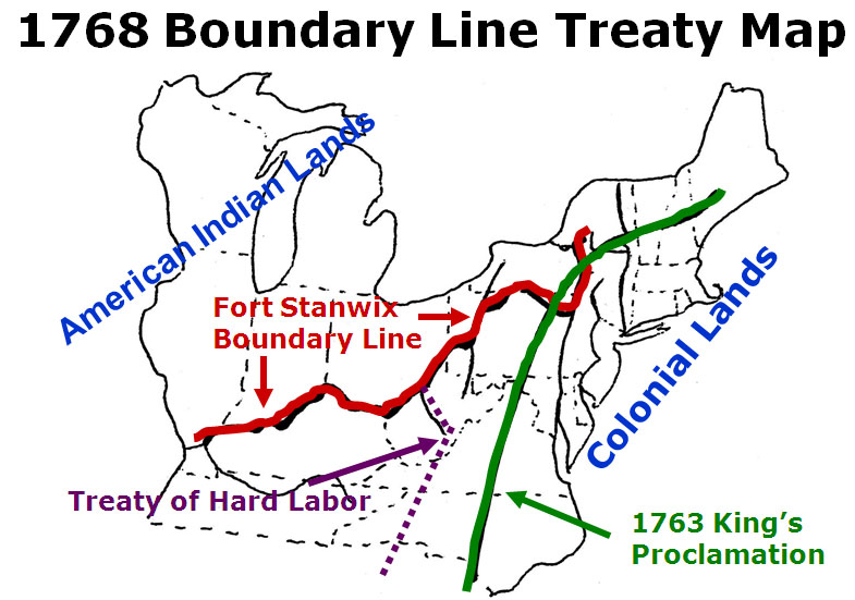 green lines mark the spot in the Appalacians that the 1768 Treaty separated British and American Indian lands