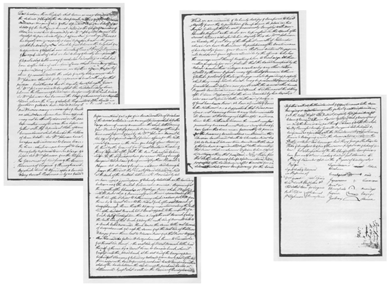 standard sized papers crowded with handwriting in cursive. smudges of ink blot areas