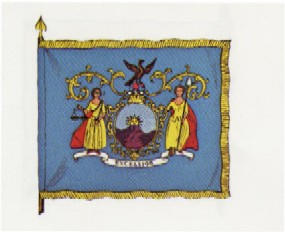 a light blue flag with golden fringe, on it stands ladies liberty and justice in golden dress standing on a British crown.