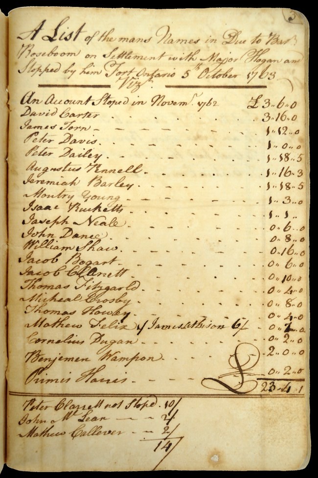 A yellowed page with a handwritten entry lists the names of the men and the amount stopped in the account with Barent Roseboom.
