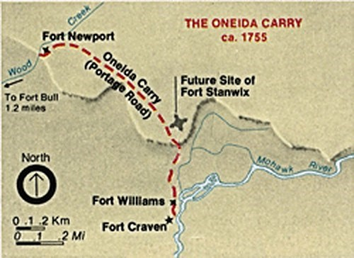 A map with lines depicting trail and little fort markers.