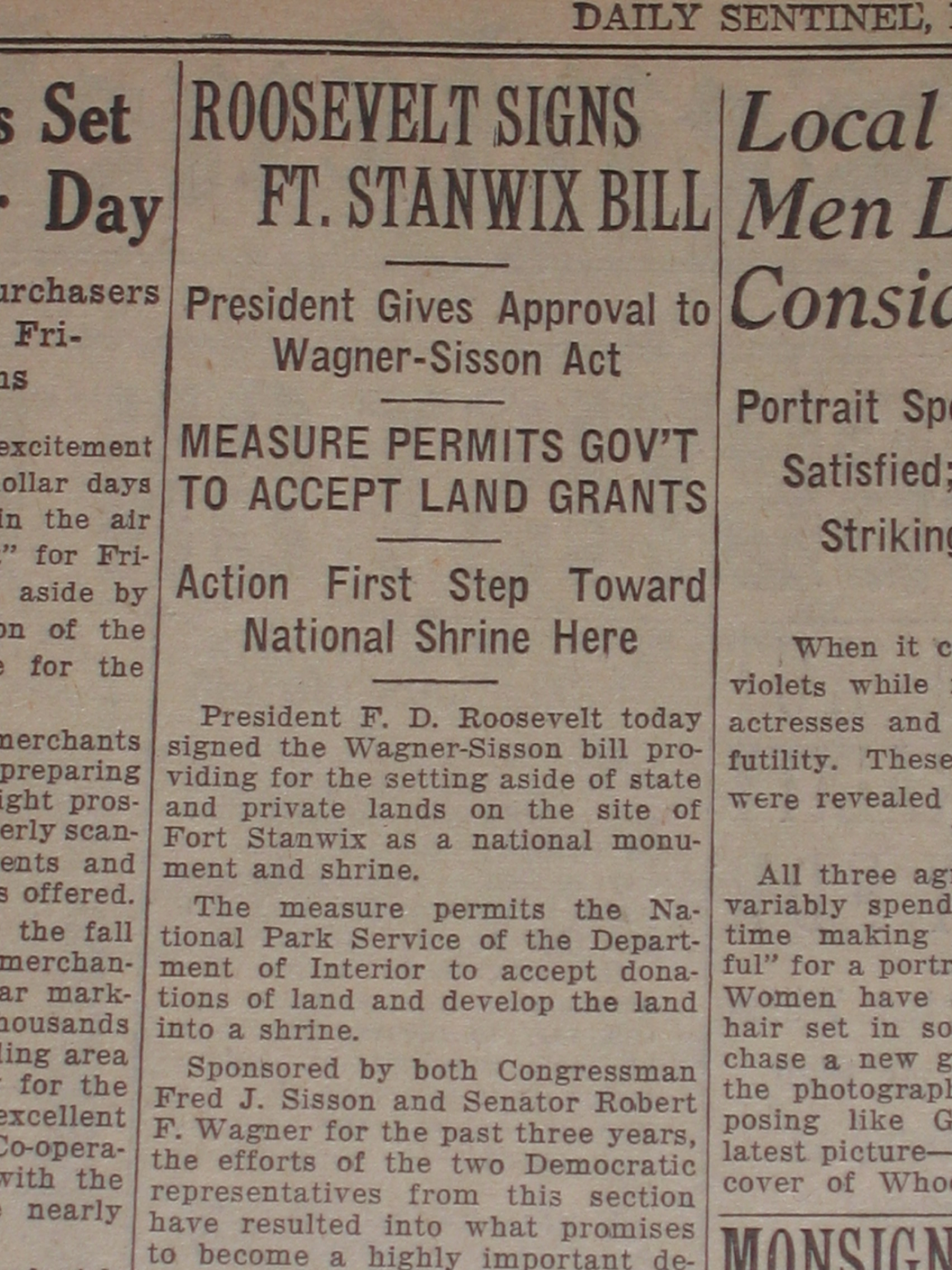 a newprint copy: BOLD PRINT: FDR Signs law to create new national shrine!