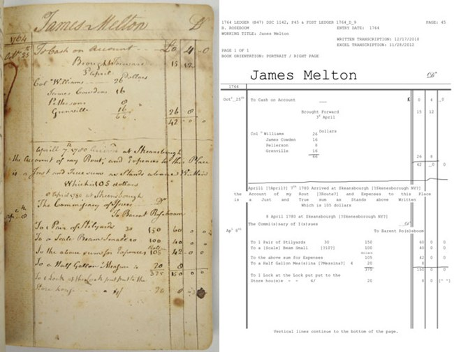 A side-by-side comparison of the hand written entry and the digitized transcription of the entry.