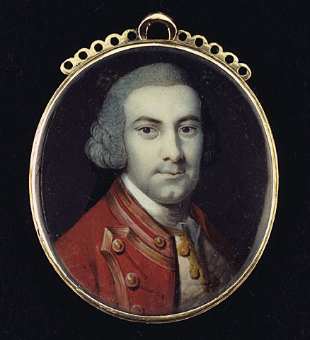 painting with heavy brushstrokes shows a man in a bright red jacket embroidered in gold. he wears a wig.