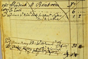 Entry showing the list of goods Hendrick received, which were then crossed out with large X's.
