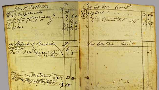 Ledger opened to two pages detailing transactions with John and Hendrick Roseboom.
