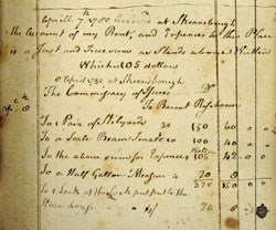 Handwritting in columns describes goods with prices on the right side.  Yellowing page with blot stains on the lower right side of the page.