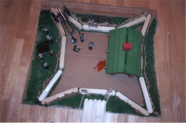 an over head view of Fort Stanwix...but wait! it is a model made by a Junior Ranger, complete with tiny 18th C. soldiers!