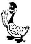 a cartoon goose waves at you