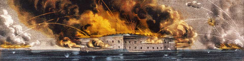 Currier & Ives lithograph depicting the bombardment of Fort Sumter