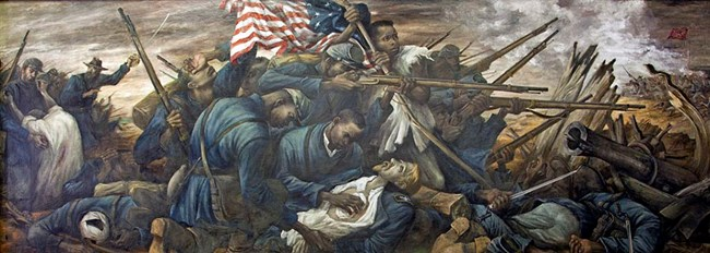 Mural of 54th Massachusetts Regiment assaulting Battery Wagner