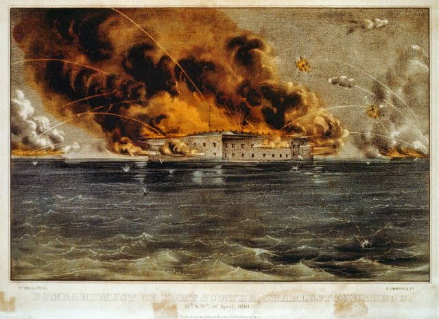 Print of Fort Sumter aflame during April 12-13, 1861 bombardment