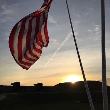 Sunset on U.S. Flag