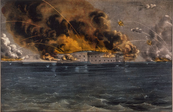 Currier and Ives lithograph of Fort Sumter depicting the opening bombardment of the Civil War on April 12, 1861.