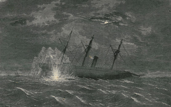 A drawing of an explosion at the Housatonic's waterline on a moonlit night.