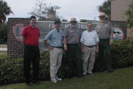 New Zealand Ambassador and party in front of the Fort Moultrie entrance sign.