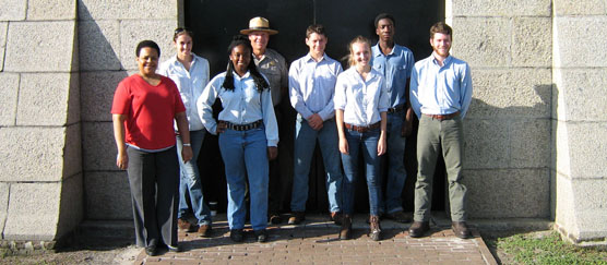 The 2012 Youth Conservation Corps poses with park staff at Fort Moultrie.