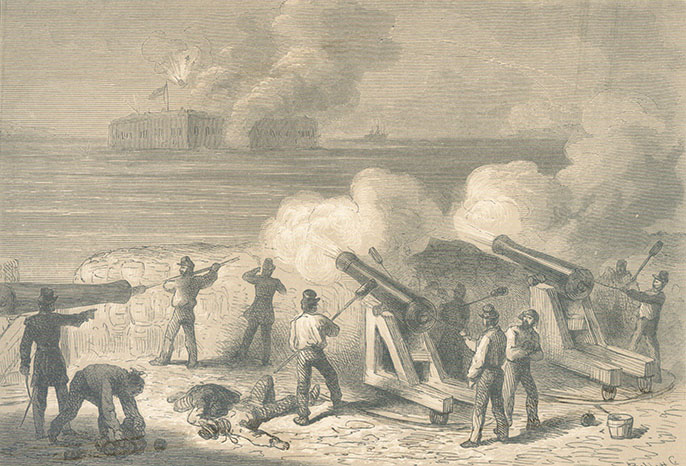 Historic drawing of the 1861 opening bombardment of Fort Sumter as seen from Fort Moultrie