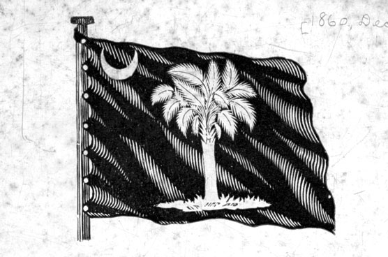 Drawing of the South Carolina flag as it appeared in 1861.