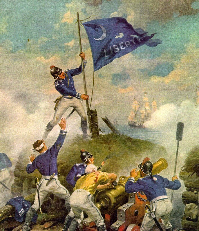 Sgt. Jasper raises the Moultrie flag during the battle of Sullivan's Island, June 28, 1776