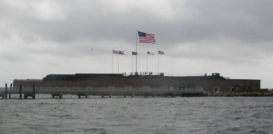 Flags flying over Fort Sumter