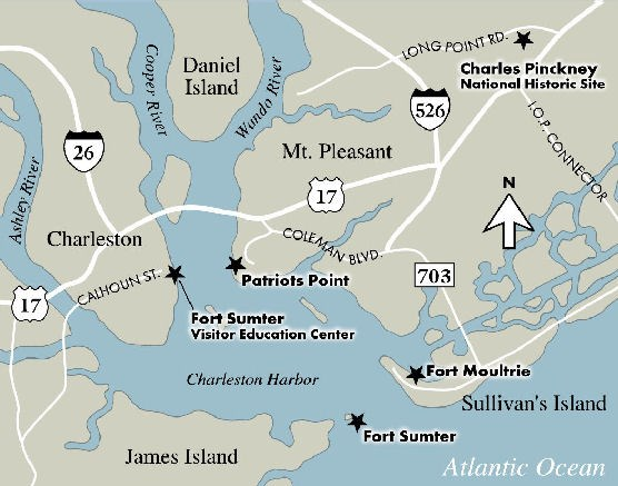 Map of the Charleston area highlighting National Park sites.