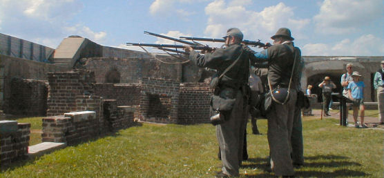 Reenactors at Fort Sumter