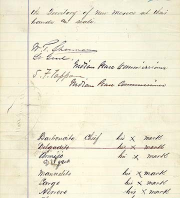 page showing signatures on 1868 treaty