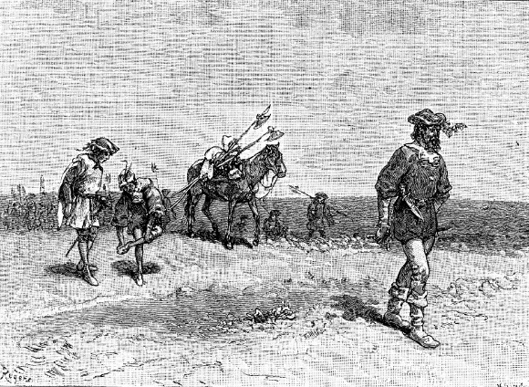 Four Spanish conquistadors traveling with a horse