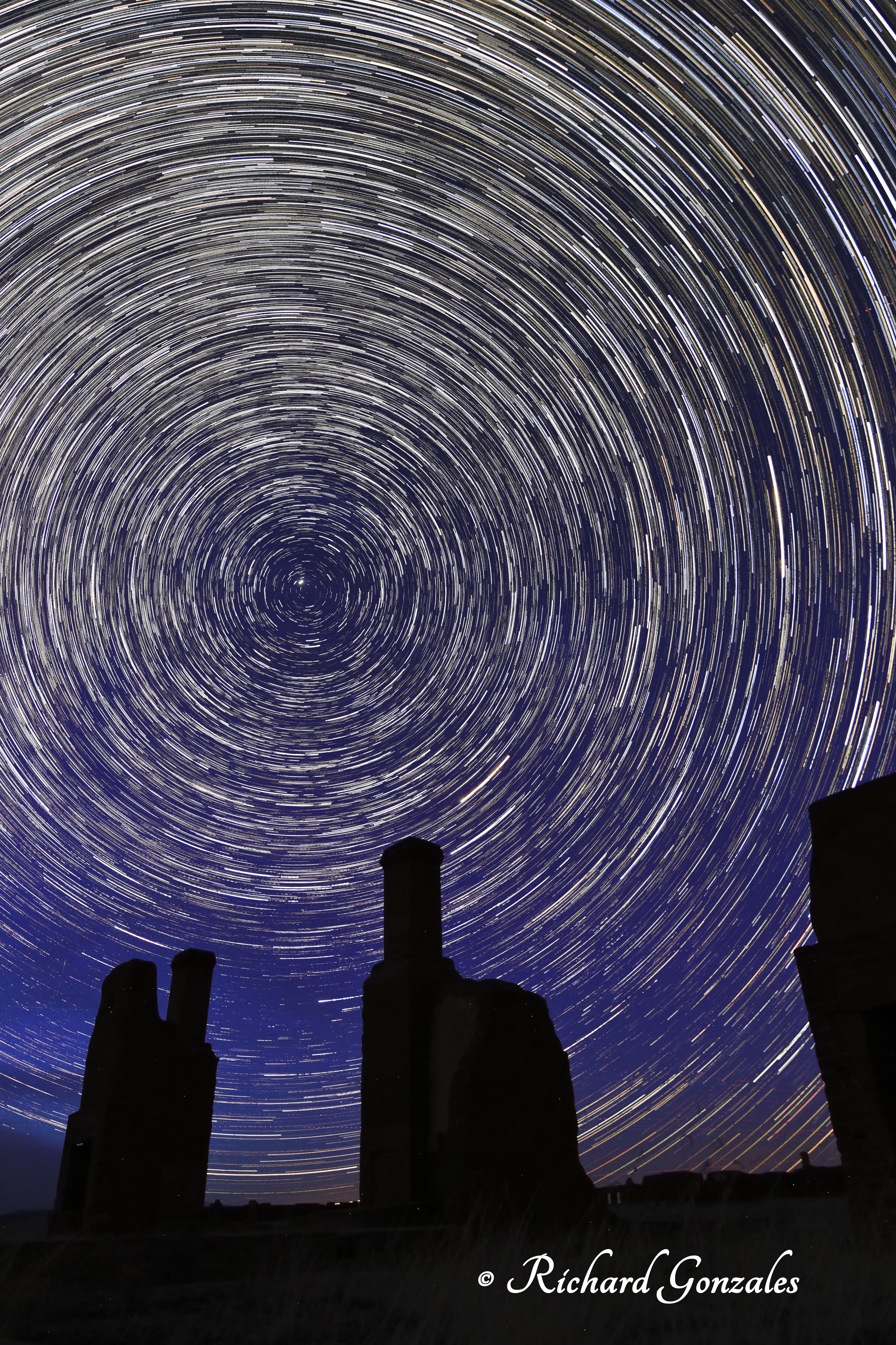Star trails over Fort Union