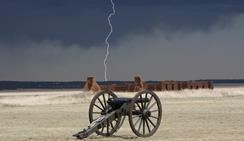 Lightning over adobe remnants