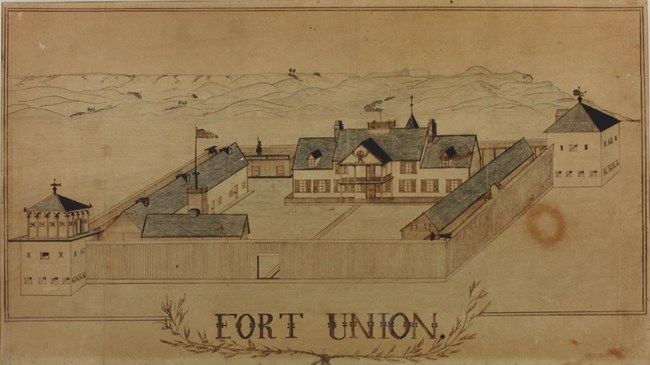 1855 soldier sketch of Fort Union