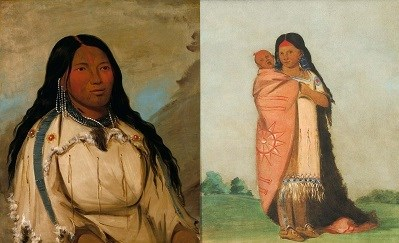 Left, American Indian woman. Right woman standing with child wrapped in blanket