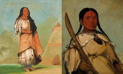 Left, American Indian woman standing with tipi in background. Right woman seated with wooden garden implement (digging stick for prairie turnips).