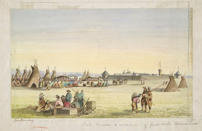 Watercolor painting of an American Indian encampment with buffalo hide tips in foreground and the east wall of Fort Union in background.