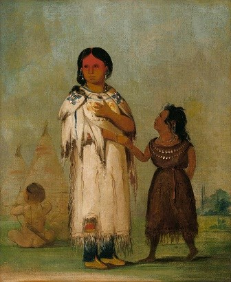 "George Catlin's ""Assiniboine Woman and Child"""