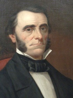 Portrait painting of man in formal black suit